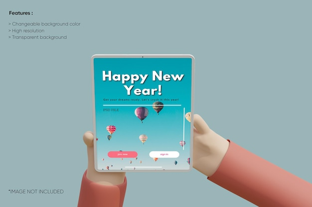 Maquette d'argile de tablette plein écran avec dessin animé à la main 3d