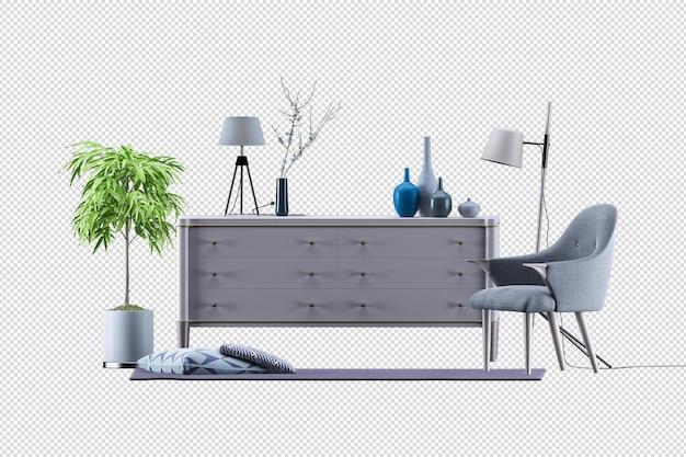 Maquette d'armoire dans un salon moderne avec fauteuil en cuir et lampe végétale sur fond de mur blanc