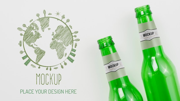 Maquette d'arrangement d'objets recyclables