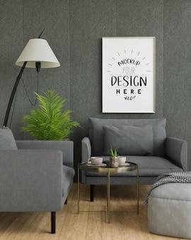 Maquette d'art mural, toile ou cadre photo dans le salon