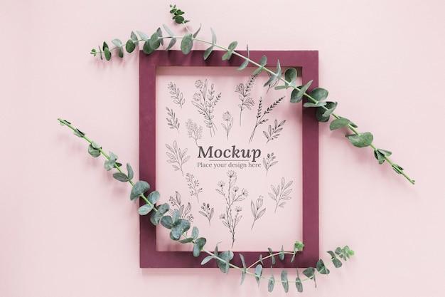 Maquette d'assortiment de plantes avec cadre