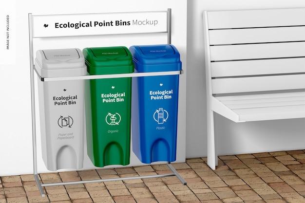 Maquette de bac de point écologique, perspective