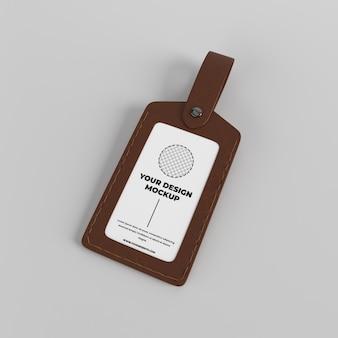 Maquette de badge de cas de titulaire de carte d'identité en cuir