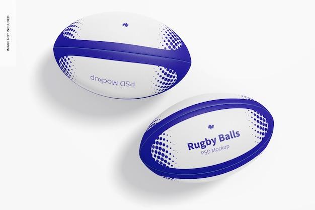 Maquette de balles de rugby, vue de dessus