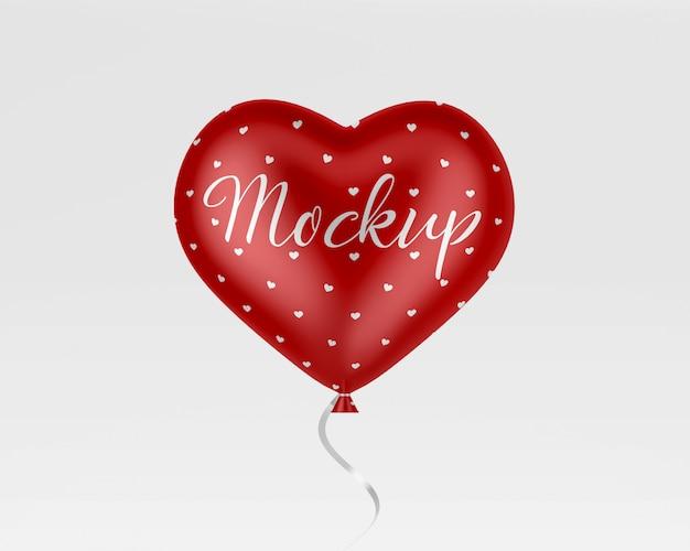 Maquette de ballon coeur hélium rouge