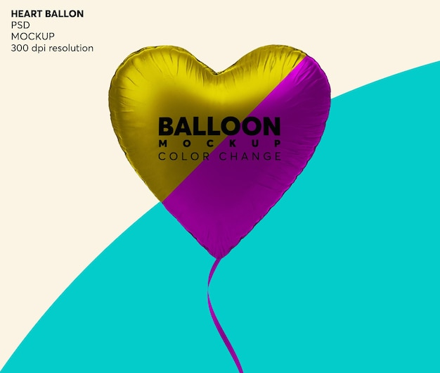 Maquette de ballon d'hélium coeur isolé