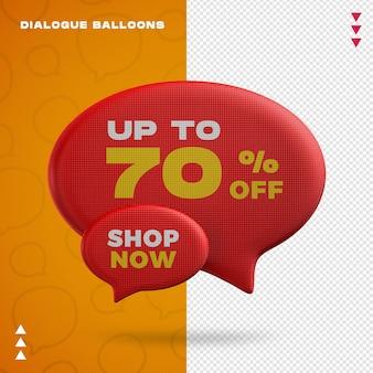 Maquette de ballons de dialogue en rendu 3d isolé