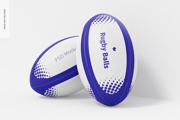 Maquette de ballons de rugby, penché