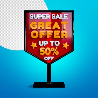 Maquette de bannière 3d super vente isolée sur bleu