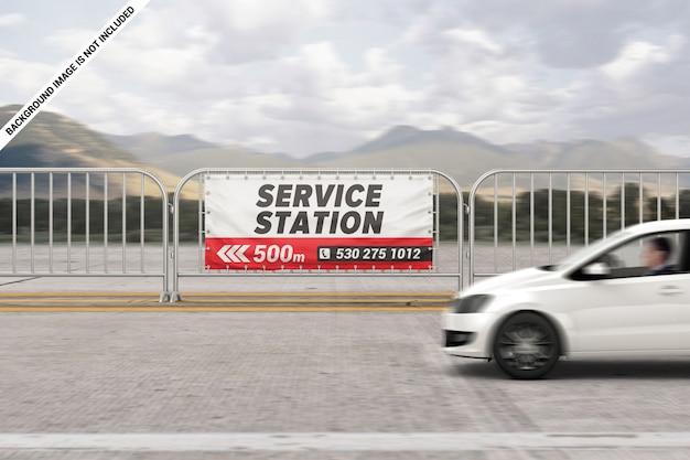 Maquette de bannière de barrière de publicité extérieure