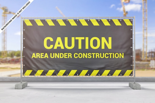 Maquette de bannière de clôture de construction