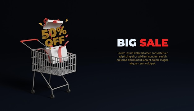 Maquette de bannière de grande vente en ligne