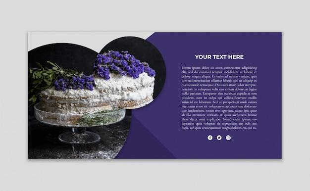 Maquette de bannière avec image de gâteau