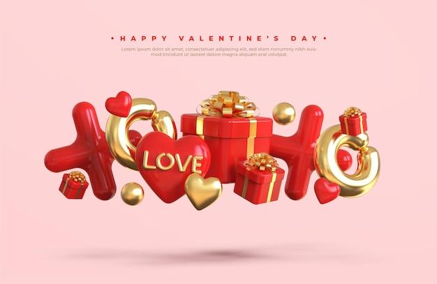 Maquette de bannière joyeuse saint-valentin avec composition créative romantique 3d