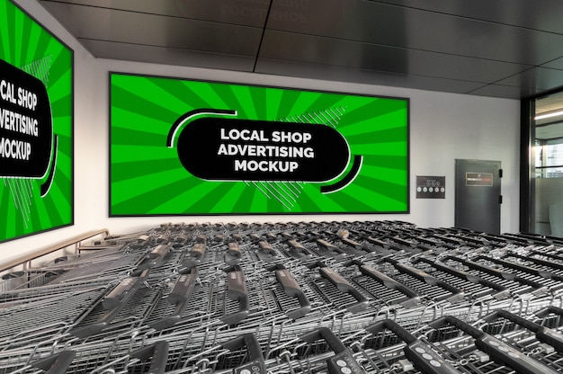 Maquette de la bannière de panneau horizontal de la publicité extérieure de la rue ville dans un cadre noir sur le mur du magasin local