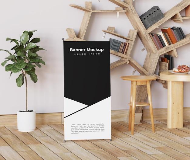 Maquette de bannière de rouleau intérieur simple