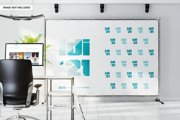 Maquette de bannière de stand de bureau à l'intérieur