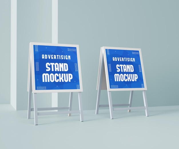 Maquette de bannière de stand publicitaire et maquette d'affichage de bannière pour la marque