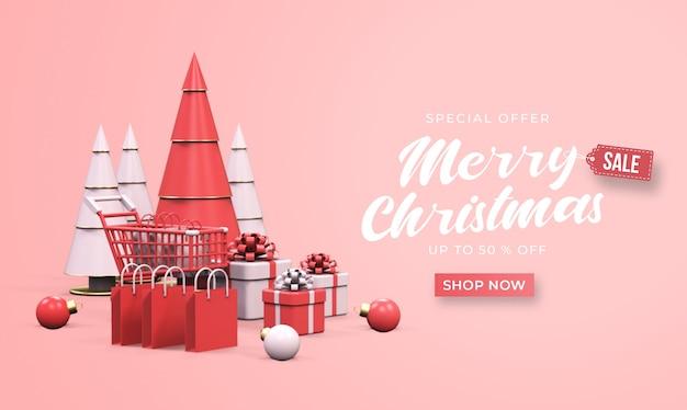 Maquette de bannière de vente joyeux noël avec chariot, sacs à provisions, coffrets cadeaux et pin