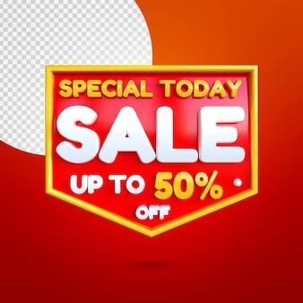 Maquette de bannière de vente spéciale 3d isolée sur rouge
