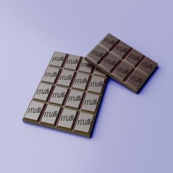 Maquette de barre de chocolat avec une couleur d'arrière-plan modifiable