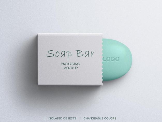 Maquette de barre de savon et boîte d'emballage vue de dessus isolée