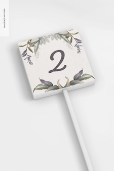 Maquette de bâton de numéro de table de mariage, close up