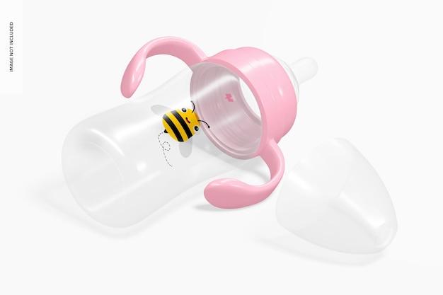 Maquette de biberon de lait pour bébé de 300 ml, vue isométrique de droite