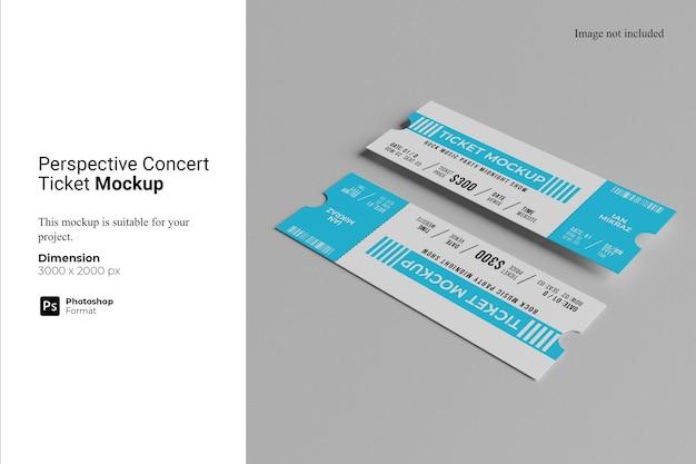 Maquette de billet de concert en perspective