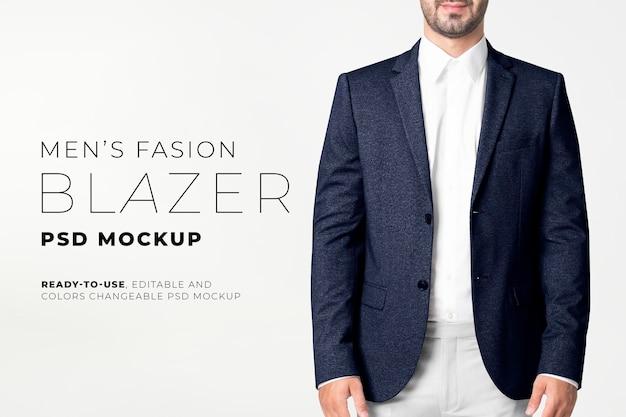 Maquette de blazer pour hommes modifiable psd dans une annonce de mode d'affaires marine