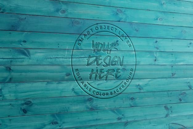 Maquette bleue effet texte en bois sculpté