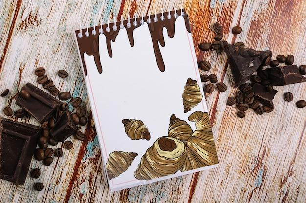 Maquette bloc-notes avec concept café