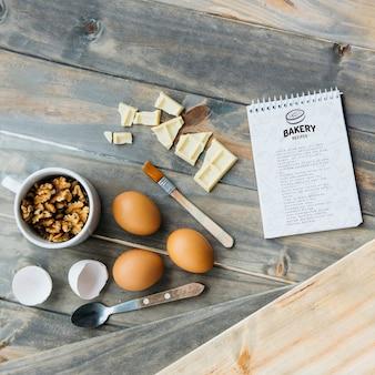 Maquette de bloc-notes avec concept de cuisine et de recette