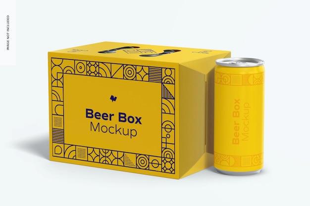 Maquette de boîte à bière, gros plan