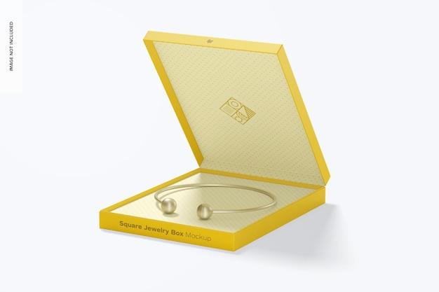 Maquette de boîte à bijoux carrée ouverte