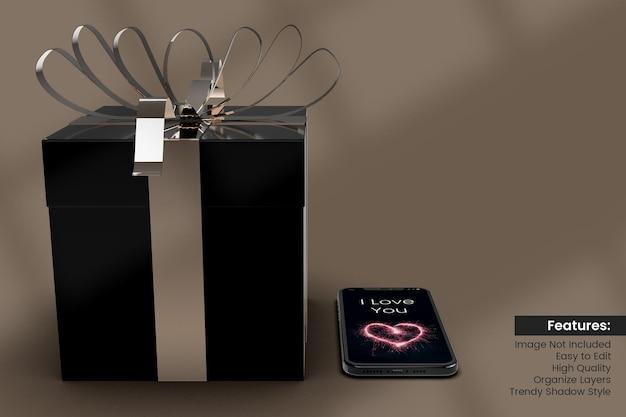 Maquette de boîte cadeau 3d saint valentin avec conception de smartphone