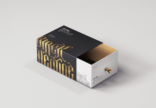 Maquette de boîte-cadeau luxueuse noire et dorée