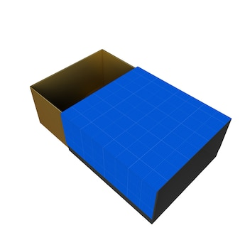 Maquette de boîte-cadeau or et bleu