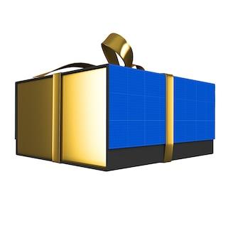 Maquette de boîte cadeau or et sombre