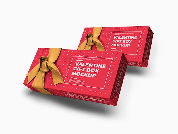 Maquette de boîte-cadeau saint-valentin isolée