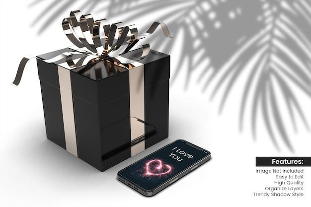 Maquette de boîte-cadeau saint valentin rendu 3d avec conception de smartphone