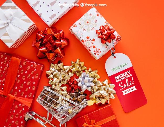 Maquette de boîte-cadeau de vente avec la conception de christmtas