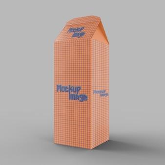 Maquette de boîte de carton de lait isolée