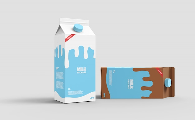 Maquette de boîte de carton de lait