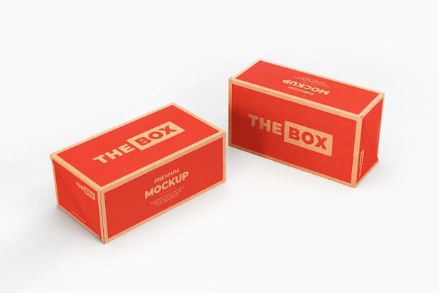 Maquette boîte chaussures marron rouge réaliste isolé