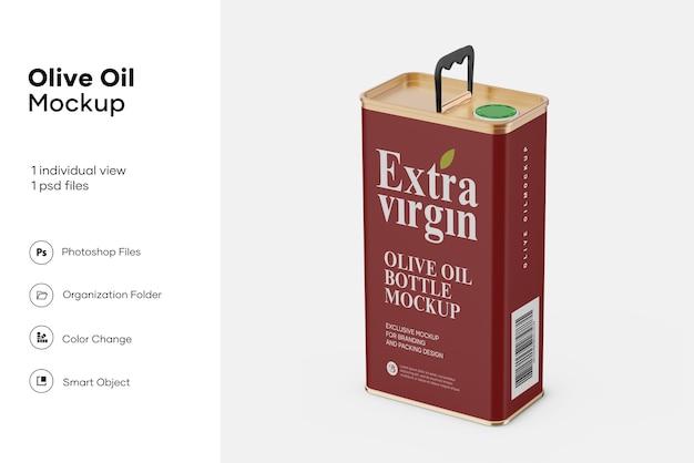 Maquette de boîte de conserve d'huile d'olive mate
