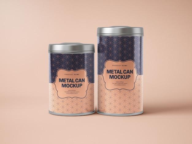 Maquette de boîte de conserve en métal brillant