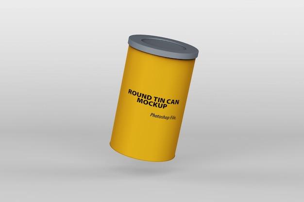 Maquette de boîte de conserve ronde flottante unique