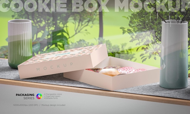 Maquette de boîte d'emballage de boulangerie en rendu 3d