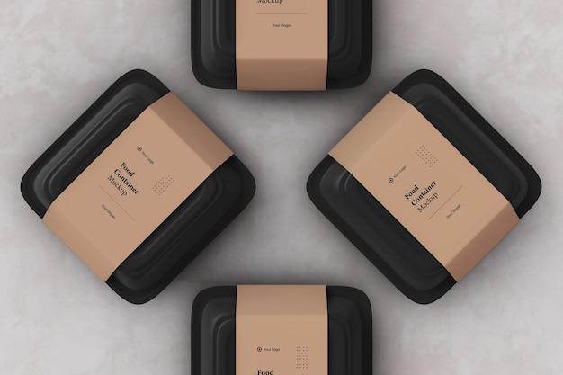 Maquette de boîte d'emballage de conteneur de nourriture à emporter quatre
